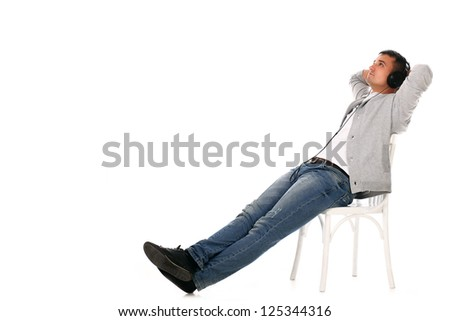 Young handsome man isolated over white background - stock photo