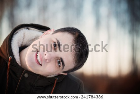 Young handsome man outdoor  - stock photo