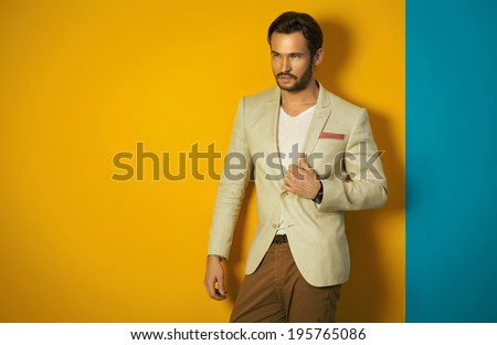 Young handsome man posing - stock photo