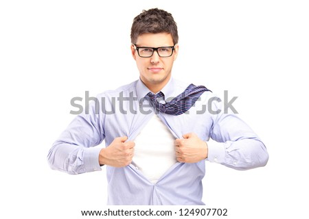 Young handsome man tearing off his shirt, isolated on white background - stock photo