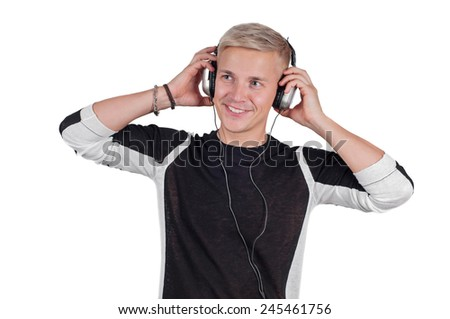 Young handsome man with headphones  - stock photo