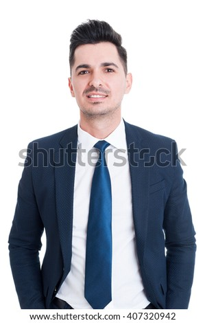 Young handsome smiling lawyer or salesman as successful and confidence concept - stock photo
