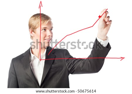 Young handsome smiling man drawing a chart