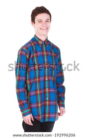 Young handsome smiling man in color shirt isolated on white background