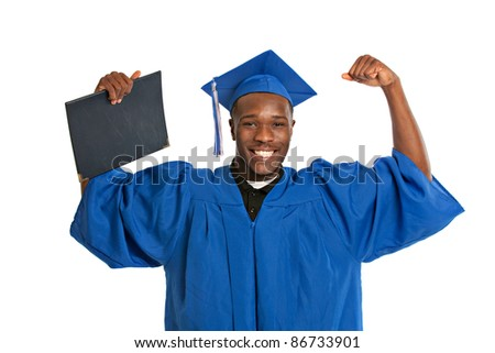 Young Happy African American Male Student Holding Graduation Certificate Exciting Expression