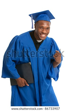 Young Happy African American Male Student Holding Graduation Certificate Exciting Expression - stock photo
