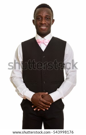 Young happy African waiter smiling isolated against white background