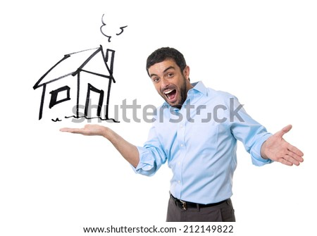 young happy attractive sales man showing house sketch at copy space in housing owner , mortgage banking and new property buying concept isolated on white background - stock photo