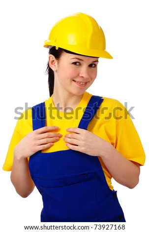 Young happy attractive woman in construction uniform, isolated over white
