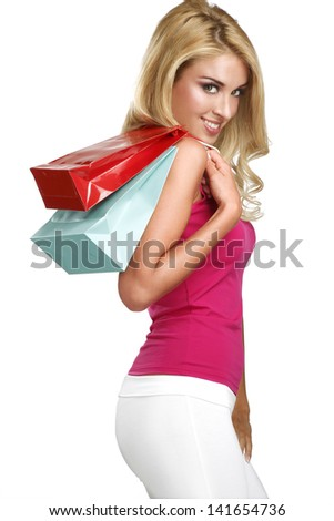 young happy beautiful blonde woman go to shopping on white - stock photo