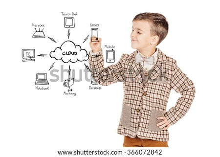 young happy boy sketch cloud computing concept on glassboard isolated on white studio background. - stock photo