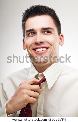 young happy business man portrait close up - stock photo