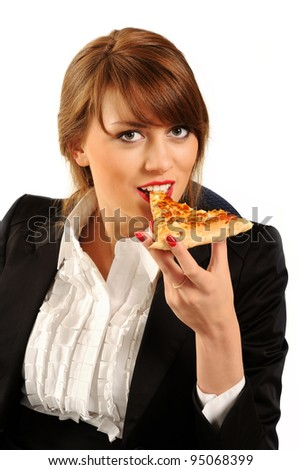 Young happy business woman eating pizza, isolated on white background - stock photo