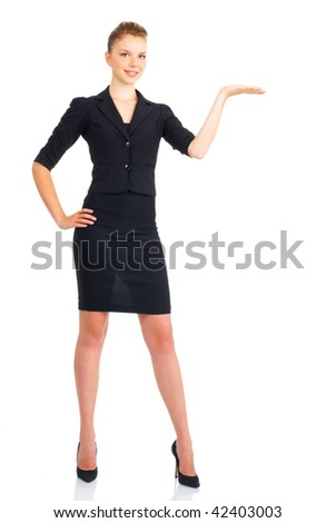 Young happy  business woman. Isolated over white background