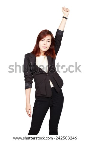 Young happy business woman isolated white background - stock photo