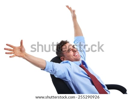 Young happy businessman isolated over white background - stock photo