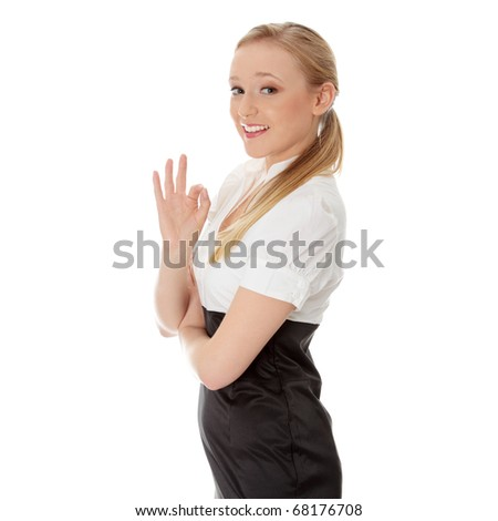 Young happy businesswoman gesturing perfect, isolated on white - stock photo