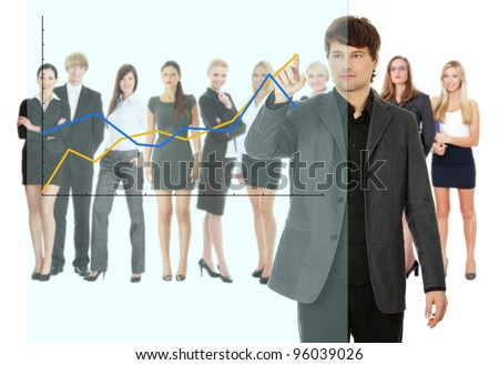 Young happy businesswoman pointing growth on graph, isolated on white - stock photo