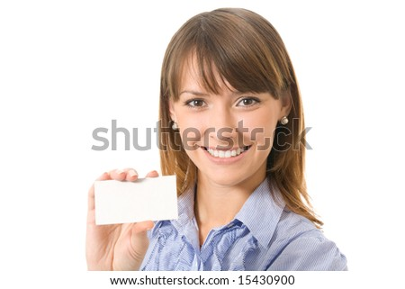 Young happy businesswoman with blank sign or business card, isolated