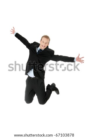 Young happy caucasian businessman jumping in the air , isolated on white background - stock photo