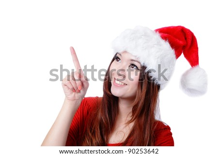 Young happy Christmas girl smile introduce by finger,  isolated on white background - stock photo