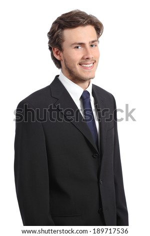 Young happy confident business man portrait isolated on a white background