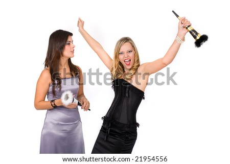 Young happy couple celebrating new year - stock photo