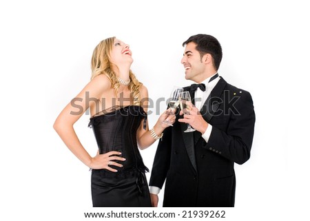 Young happy couple drink a toast for new year - stock photo