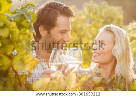Young happy couple holding glasses of wine in the grape fields