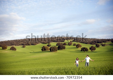 Young happy couple in green field - stock photo