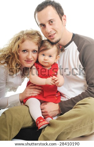 young happy family with beautiful baby playing and smile  isolated on white - stock photo
