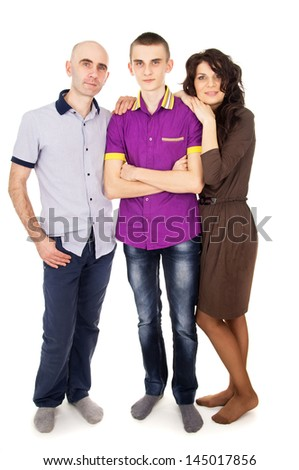 young happy family with son - stock photo