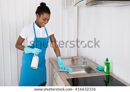 Young Happy Female Janitor Cleaning Sink With Rag And Detergent Spray Bottle
