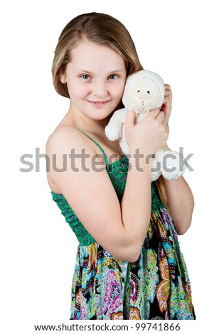 young happy girl.  Little girl with a toy. isolated on white - stock photo
