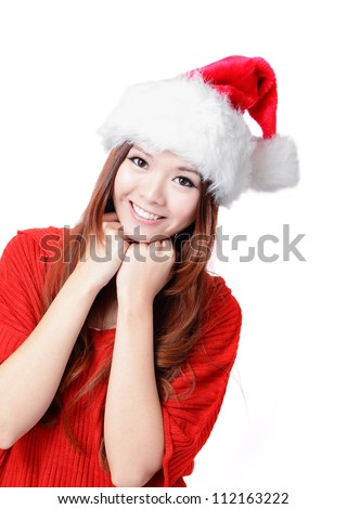Young Happy Girl Smile with Christmas hat and red cloth Isolated on white background, model is a asian woman