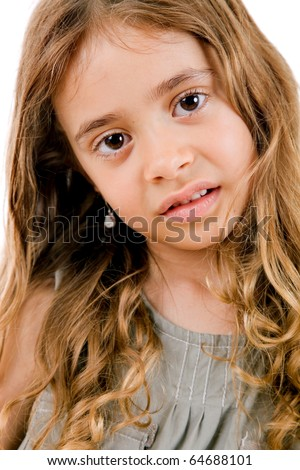 young happy girl smiling, isolated on white