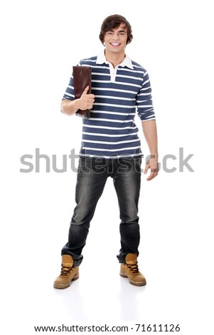 Young happy handsome student man with notebook,isolated on a white background - stock photo