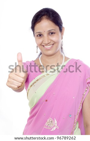 Young happy  Indian woman showing thumbs up