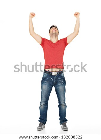 Young happy man with  in casuals with raised hands up isolated on white background. - stock photo