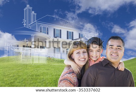 Young Happy Mixed Race Family and Ghosted House Drawing on Grass. - stock photo