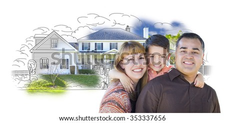 Young Happy Mixed Race Family and Ghosted House Drawing on White. - stock photo