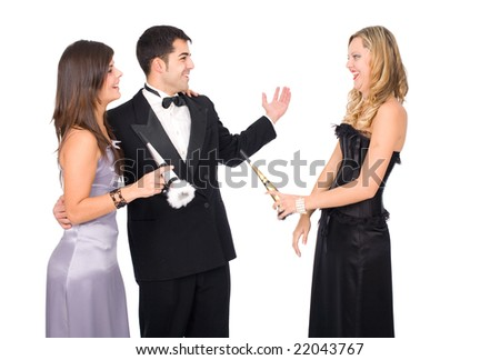 Young happy people celebrating new year - stock photo