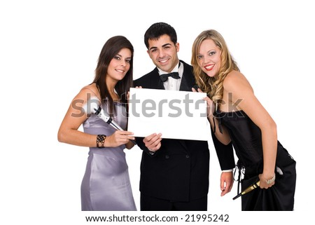 Young happy people celebrating new year with blank card - stock photo