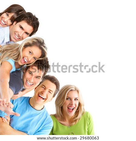 Young happy people smiling. Over white background - stock photo