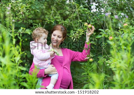 Young happy pregnant mother picking apples in the garden with her one year old baby daughter on a cold autumn day - stock photo