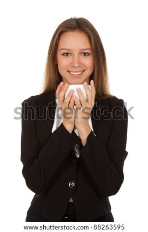 young happy smile business woman hold cup of coffee isolated over white background - stock photo