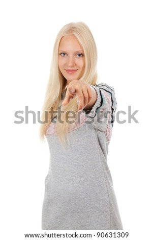 young happy smile teenage girl point finger at you gesture, looking at camera, wear winter knitted warm sweater, isolated over white background - stock photo