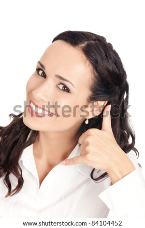 Young happy smiling business woman with call me gesture, isolated on white background