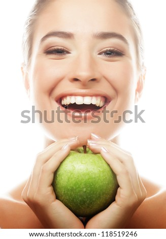 Young happy smiling woman with green apple, isolated on white - stock photo