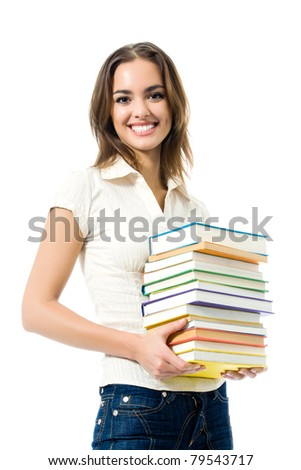 Young happy smiling woman with textbooks, isolated on white background